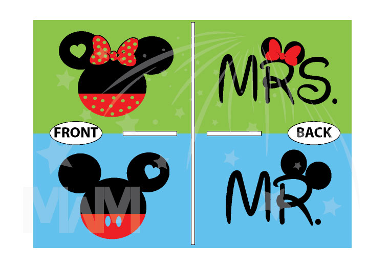 Mickey Minnie Mouse Heads Bow Polka Dot Mr Mrs With Big Ears married with mickey
