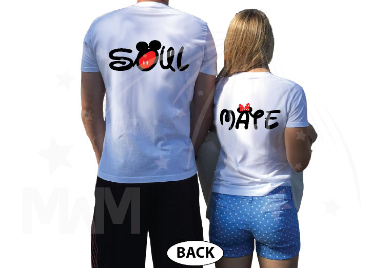 Soul Mate Mickey Mouse Pants Minnie Mouse Bow married with mickey white tees