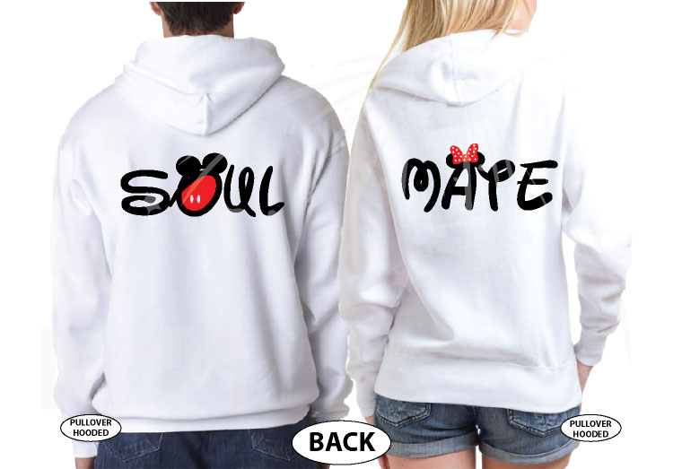 Soul Mate Mickey Mouse Pants Minnie Mouse Bow married with mickey white hoodies