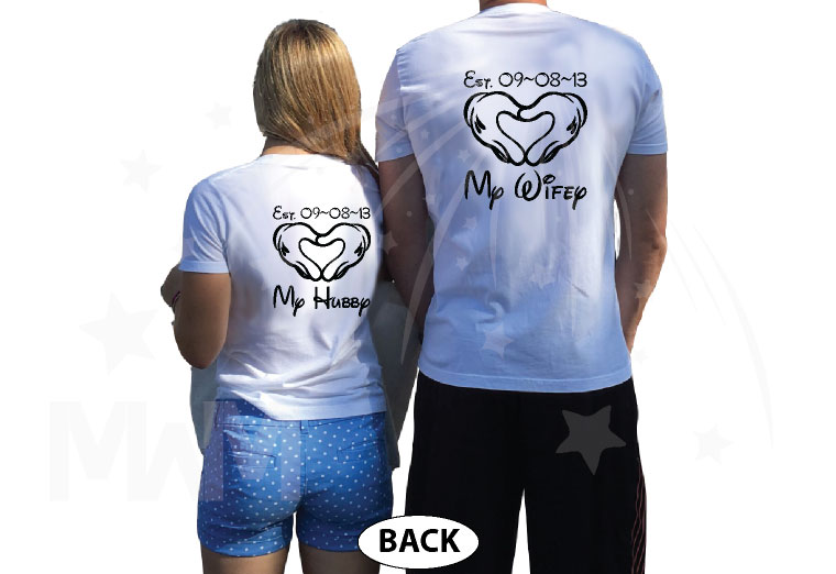 He's Mine She's Mine Love My Hubby Heart My Wifey Custom Wedding Date Mickey Hands married with mickey white tees