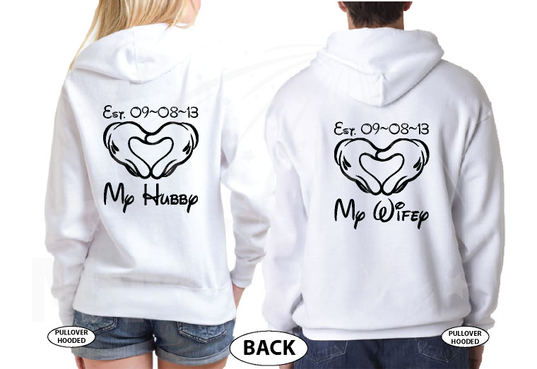He's Mine She's Mine Love My Hubby Heart My Wifey Custom Wedding Date Mickey Hands married with mickey white hoodies