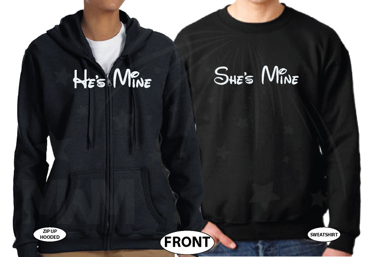 He's Mine She's Mine Love My Hubby Heart My Wifey Custom Wedding Date Mickey Hands married with mickey black hoodies