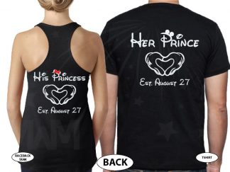 Cute She's Mine He's Mine Her Prince His Princess Mickey Hands Wedding Date married with mickey black tees