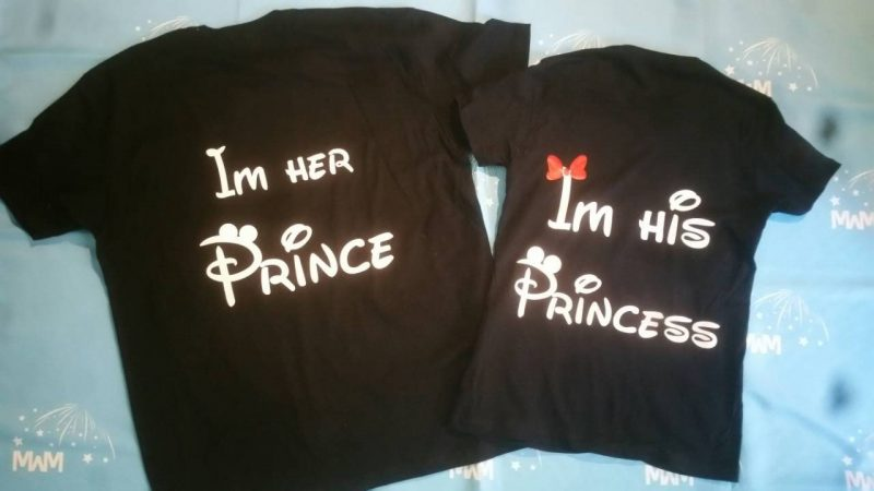 I'm His Princess I'm Her Prince Matching Shirts Minnie Mouse Bow Mickey Mouse Ears married with mickey black tshirts
