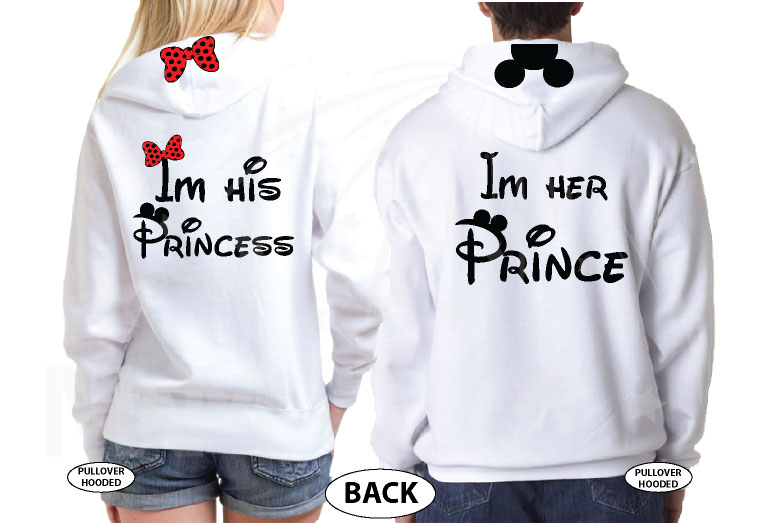 I'm His Princess I'm Her Prince Bow Ears On Hood married with mickey white hoodies