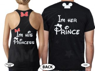 I'm His Princess I'm Her Prince Bow Ears On Hood married with mickey black tees