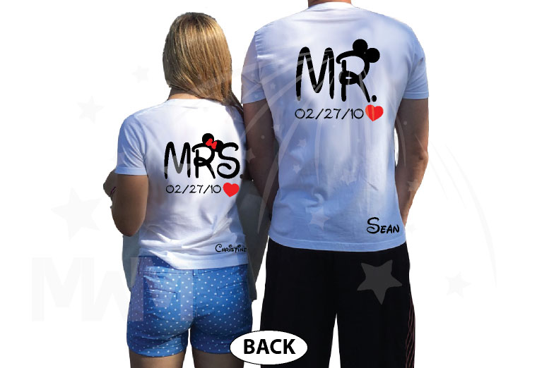 Mrs Mr Little Mickey Minnie Mouse Cute Kissing With Names and Wedding Date married with mickey white tees