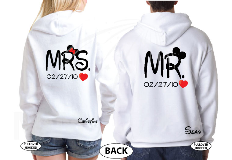Mrs Mr Little Mickey Minnie Mouse Cute Kissing With Names and Wedding Date married with mickey white hoodies