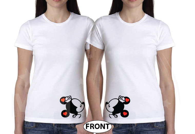 LGBT Lesbian Mrs With Little Minnie Mouse Cute Kiss Couple Shirts married with mickey mwm white tshirts