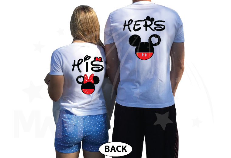 Cute His Hers Big Ears Mickey Minnie Mouse Head Polka Dot Bow married with mickey white tshirts