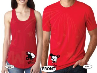 Cute His Hers Big Ears Mickey Minnie Mouse Head Polka Dot Bow married with mickey red tshirts