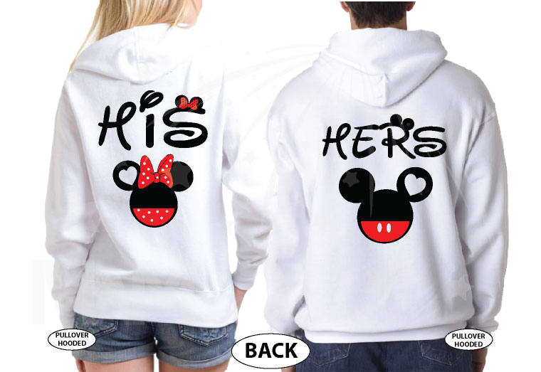Cute His Hers Big Ears Mickey Minnie Mouse Head Polka Dot Bow married with mickey white hoodies