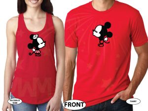 Mickey Minnie Mouse Matching Shirts Cute Kiss married with mickey red tee and tank