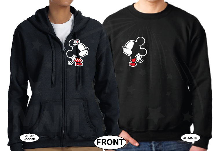 Mickey Minnie Mouse Matching Shirts Cute Kiss married with mickey black hoodies