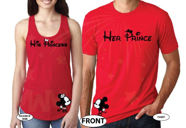 Her Prince His Princess Mickey Minnie Mouse Kissing On Front Design Pocket married with mickey red tank and tee