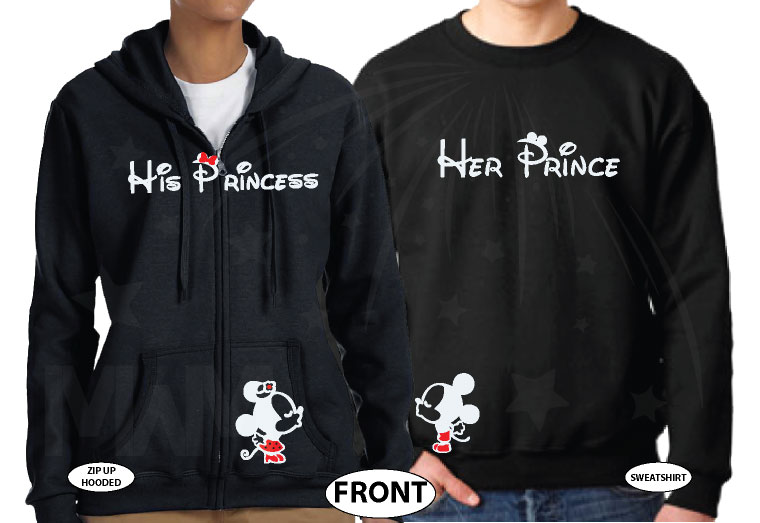 Her Prince His Princess Mickey Minnie Mouse Kissing On Front Design Pocket married with mickey black pullovers