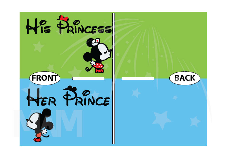 Her Prince His Princess Mickey Minnie Mouse Kissing On Front Design Pocket married with mickey
