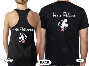 Her Prince His Princess Mickey Minnie Mouse Kiss married with mickey black tee and tank