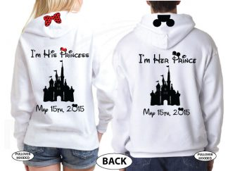 Addicted To Disney I'm Her Prince I'm His Princess Disney Castle Wedding Date Minnie Bow Mickey Head married with mickey white hoodies