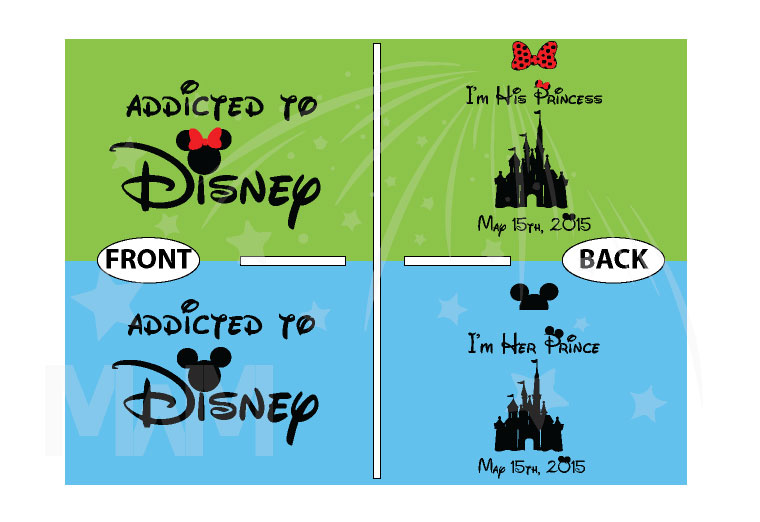 Addicted To Disney I'm Her Prince I'm His Princess Disney Castle Wedding Date Minnie Bow Mickey Head married with mickey