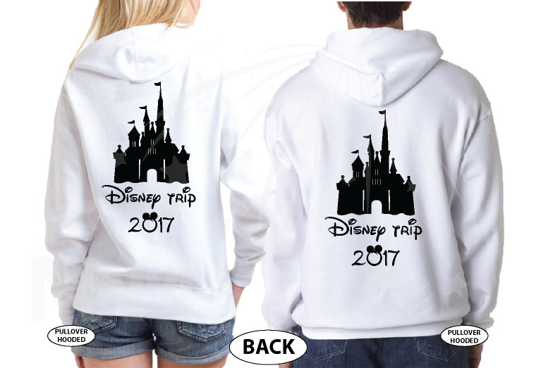 Mom Son Family Matching Shirts Disney Cinderella Castle married with mickey white hoodies