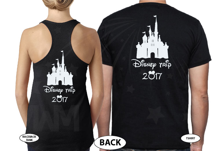 Mom Son Family Matching Shirts Disney Cinderella Castle married with mickey black tee and tank