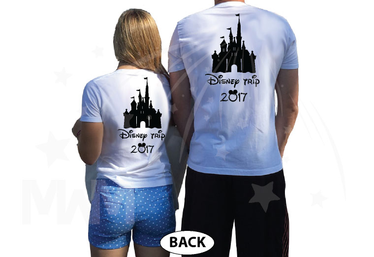 Mom Son Family Matching Shirts Disney Cinderella Castle married with mickey white tees