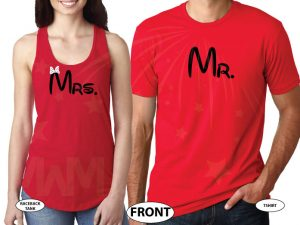 Disney LoVe SoulMate Matching Couple Shirts With Mickey Minnie Kissing For Mr and Mrs married with mickey red tank and tee