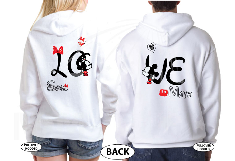 Disney LoVe SoulMate Matching Couple Shirts With Mickey Minnie Kissing married with mickey mwm white hoodies