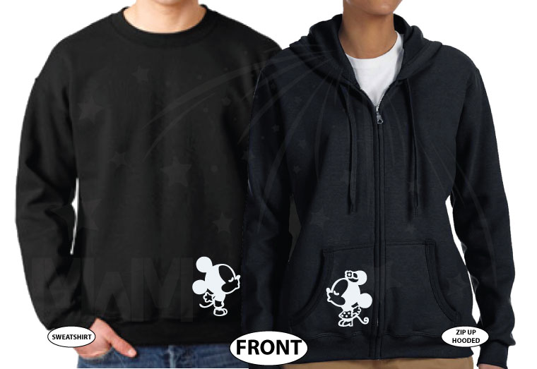 Disney LoVe SoulMate Matching Couple Shirts With Mickey Minnie Kissing married with mickey mwm black hoodies