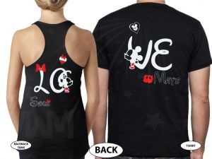 Disney LoVe SoulMate Matching Couple Shirts With Mickey Minnie Kissing married with mickey mwm black tee and tank
