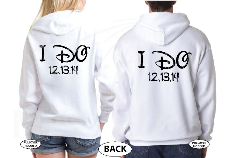 Mr Mrs I Do Wedding Date and Custom Names married with mickey white hoodies