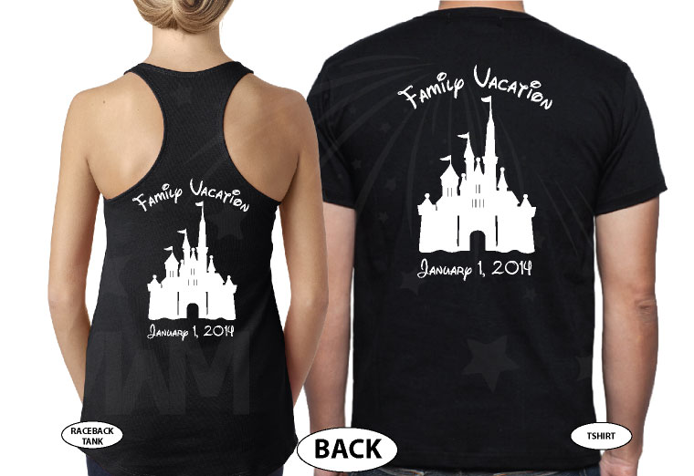 Mickey Minnie Mouse Head With Names Disney Cinderella Castle With Custom Date married with mickey black tee and tank