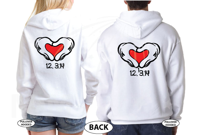 Mr Mrs Shirts Mickey's Hands With Heart Wedding Date Disney Font married with mickey white hoodies