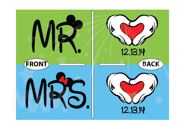 Mr Mrs Shirts Mickey's Hands With Heart Wedding Date Disney Font married with mickey