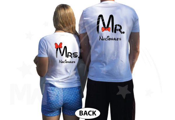 Mr Mrs Mickey Mouse Tie Bow Minnie Mouse Head Last Name married with mickey white tees