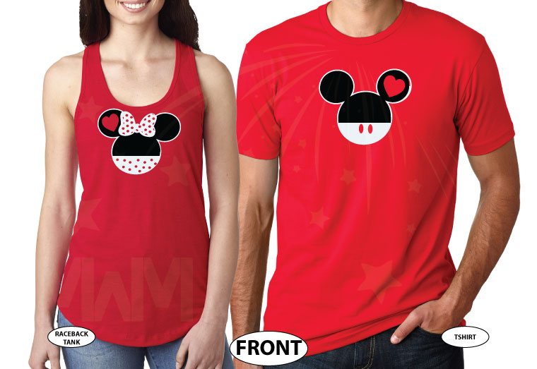 Mr Mrs Mickey Mouse Tie Bow Minnie Mouse Head Last Name married with mickey red tee and tank