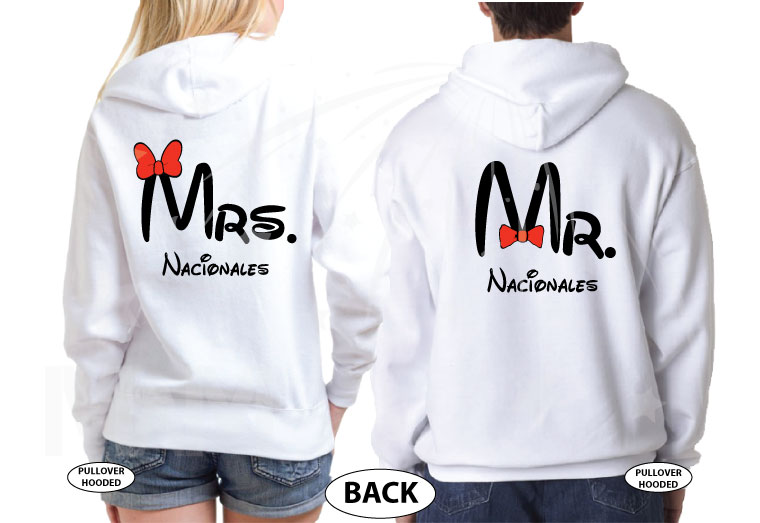 Mr Mrs Mickey Mouse Tie Bow Minnie Mouse Head Last Name married with mickey white hoodies