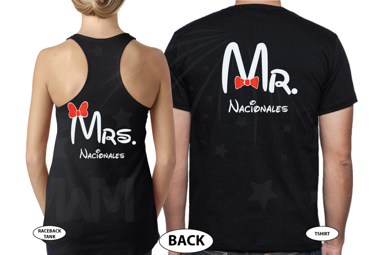 Mr Mrs Mickey Mouse Tie Bow Minnie Mouse Head Last Name married with mickey black tee and tank
