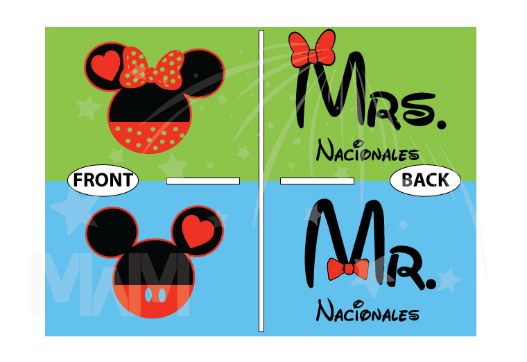 Mr Mrs Mickey Mouse Tie Bow Minnie Mouse Head Last Name married with mickey