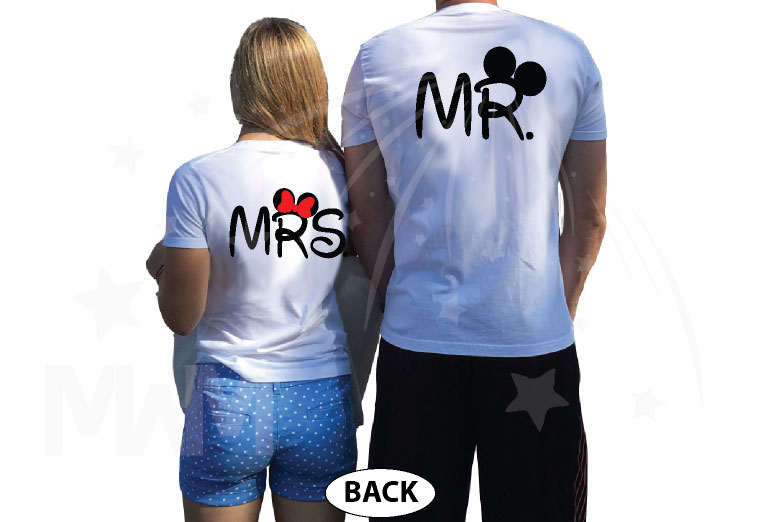 Mr Mrs Mickey Minnie Mouse Heads married with mickey mwm white tshirts