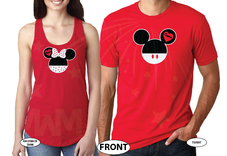 Mr Mrs Mickey Minnie Mouse Heads married with mickey mwm red tank and tee