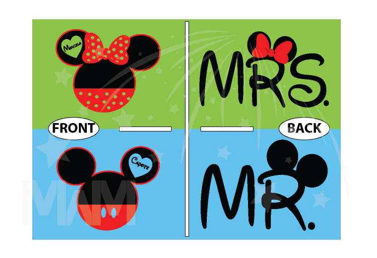 Mr Mrs Mickey Minnie Mouse Heads married with mickey mwm