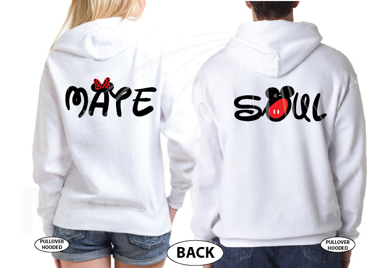 Soulmate Shirts Mickey's Hands with Initials married with mickey white pullovers