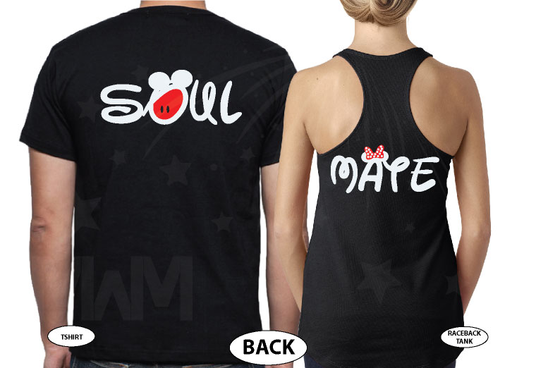 Soulmate Shirts Mickey's Hands with Initials married with mickey black tee and tank