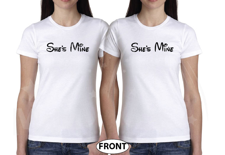LGBT Lesbians She's Mine Her Princess With Mickey's Hands and Date married with mickey white tshirts