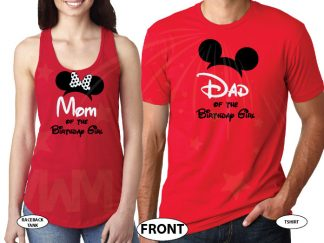 Dad and Mom Of Birthday Boy (Girl) married with mickey red tee and tank