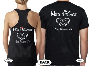 Her Prince His Princess Little Mickey Minnie Mouse Kiss Mickey's Hands In Heart Shape Wedding Date married with mickey black tee and tank