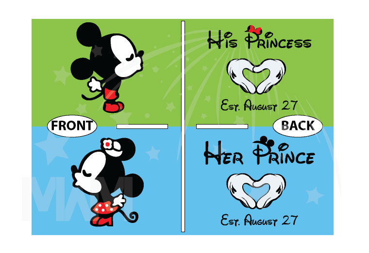 Her Prince His Princess Little Mickey Minnie Mouse Kiss Mickey's Hands In Heart Shape Wedding Date married with mickey