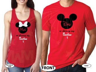 Dad and Mom Of Birthday Boy (Girl) With Child's Name and Age married with mickey red tank and tee